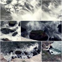 Waves hit the rock blurred motion collage of toned colorized pictures