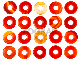 collection of polished donut shape agate circles