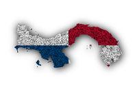 Karte und Fahne von Panama auf Mohn - Map and flag of Panama on poppy seeds