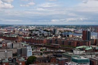 Überblick über die Speicherstadt in Hamburg