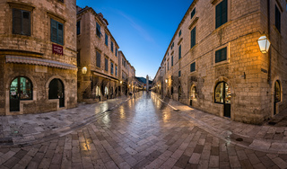 Panorama of Stradun Street in Dubrovnik, Dalmatia, Croatia