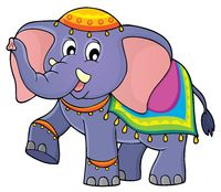 Indian elephant theme image 1 - picture illustration.