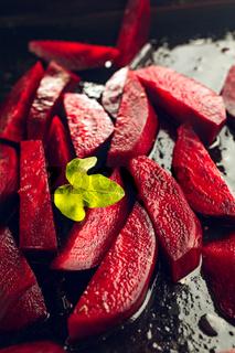 Freshly sliced beetroot
