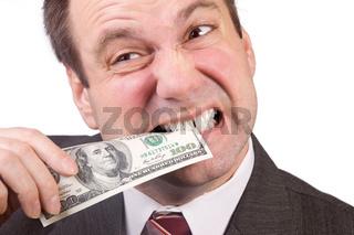 man tests money