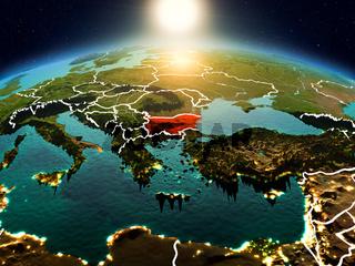 Bulgaria in sunrise from orbit