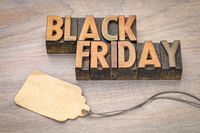 Black Friday sale banner in wood type