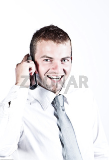 Photo Of An Enthusiastic Young Corporate Man On The Phone