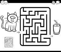 maze activity game with cat and milk