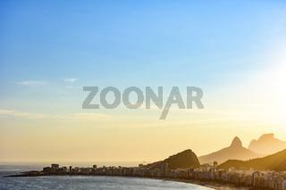 Copacabana beach at sunset in Rio de Janeiro