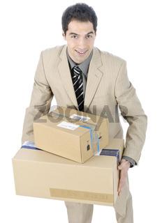 Geschäftsmann mit Paketen