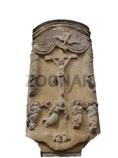 Jesus am Kreuz,steinernes Relief am Fluss Alzette im Stadtteil Grund,Unterstadt Luxemburg