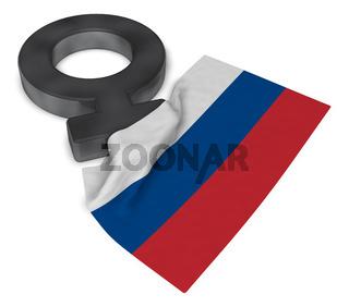 symbol für weiblich und russische flagge - 3d illustration