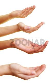 Vier Hände bitten um eine Spende