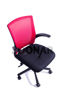 Red office chair isolated on the white background