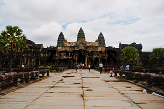 Entrance to Angkor Wat, Siem Reap, Cambodia. Largest religious monument in the world 162.6 hectares