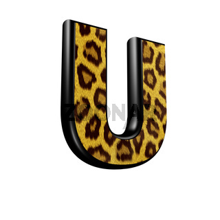 3d letter with panther skin texture - U