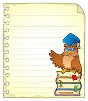 Notebook page with owl teacher 3 - picture illustration.