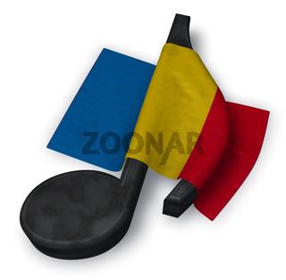 musiknote und rumänische flagge - 3d illustration