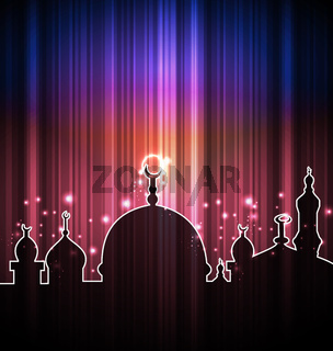 Cute shine card with mosque