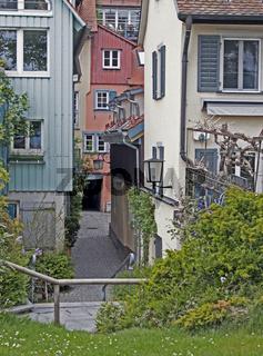 Gasse auf der Insel in Lindau am Bodensee