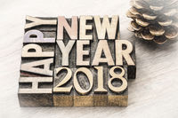 Happy New Year 2018 in wood type