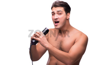 Man with hairdryer isolated on white