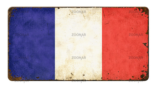 Vintage metal sign on a white background - Flag of France