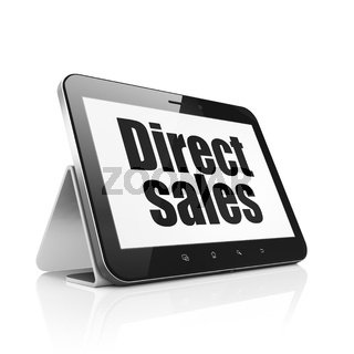 Marketing concept: Tablet Computer with Direct Sales on display