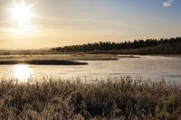 Finnland, finnisch Lappland, Sonnenaufgang am Ivalojoki Fluss