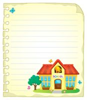Notepad page with school building 1 - picture illustration.