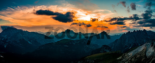 Panorama National Nature Park Tre Cime In the Dolomites Alps. Beautiful nature of Italy.