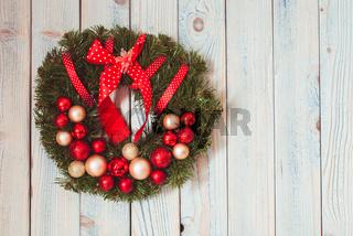 Christmas wreath on wall