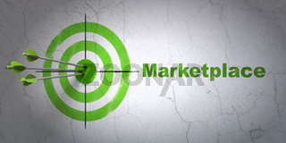 Advertising concept: target and Marketplace on wall background