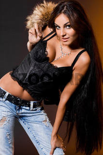 beautiful fashionable woman with fur