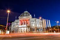 Volkstheater building in Vienna Austria at night