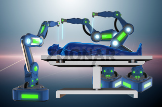 The surgery performed by robotic arm