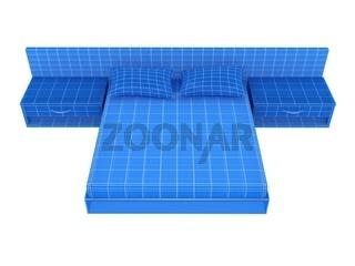 Sofa on white. 3D rendering