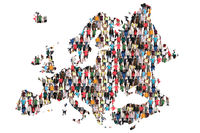 Europa Karte Leute Menschen People Gruppe Menschengruppe multikulturell