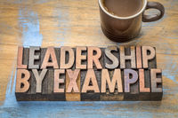 leadership by example - word abstract in wood type