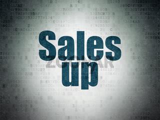 Marketing concept: Sales Up on Digital Data Paper background