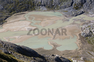 Gletscherwasser am Ausläufer des Pasterze Gletschers am Großglockner, Pasterze-Gletscher, Kärnten, Österreich, Europa