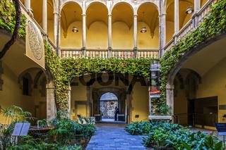 Garden Patio Of palau del lloctinent, Gothic Quarter, Barcelona, Spain