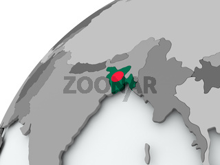 Flag of Bangladesh on grey globe