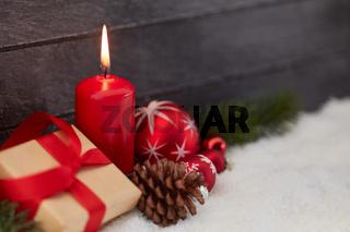 Weihnachten Dekoration als Hintergrund mit Kerze