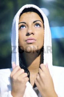 Young woman take a steam bath