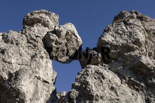 Felsen mit Risiko und Gefahr