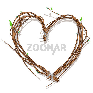 Heart woven of twigs, isolated on white