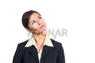 Business woman looking up and left