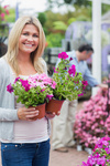 Customer carrying flowers