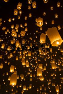 Chiang Mai, Thailand - Sky lanterns at Yi Peng Festival